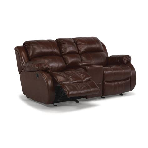 power reclining leather loveseat with console flexsteel 1206 604p brandon leather power reclining