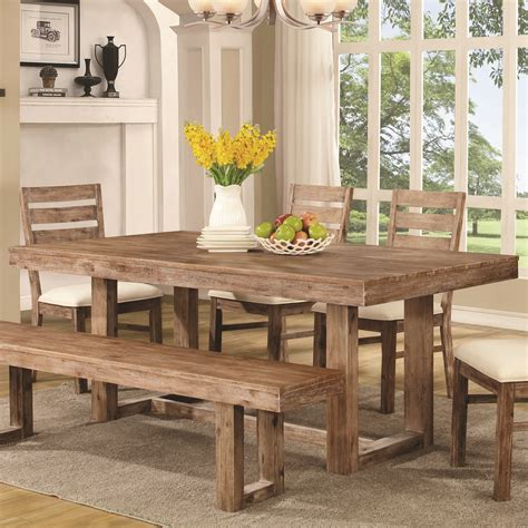 coaster elmwood rustic quot u quot base dining table sol
