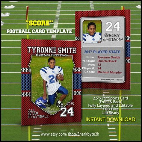 Football Card Template by Football Sports Trader Card Template For Photoshop Score
