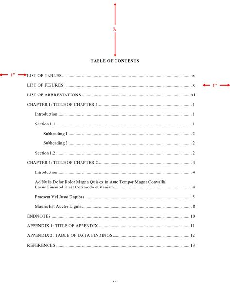 table of contents dissertation template thesis table of contents or table of content