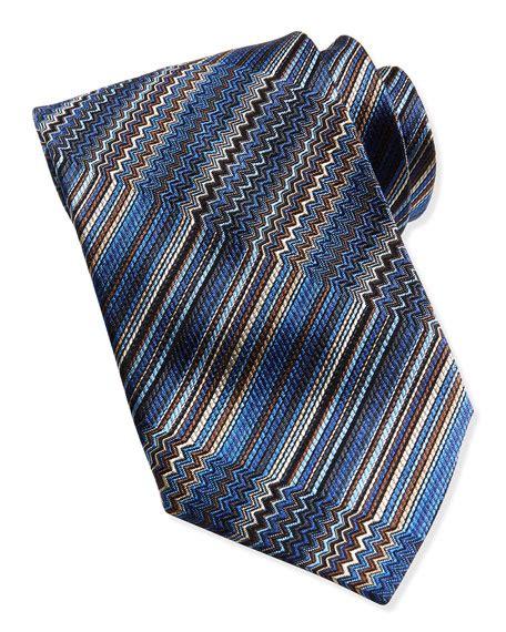 how to knit zig zag stripes missoni zigzag stripe knit tie blue beige