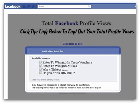 Facebook Surveys For Money - quot my total facebook profile views quot new facebook spam