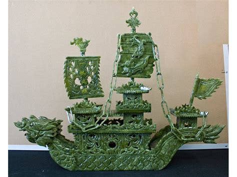 hand carved boat chinese hand carved jade dragon boat sculpture jade