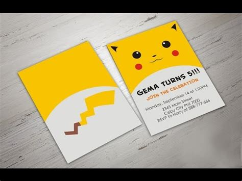 birthday rsvp card template pikachu how to make go birthday invitation in coreldraw