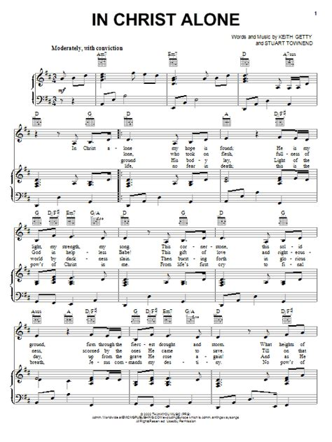 free printable sheet music for in christ alone in christ alone sheet music direct