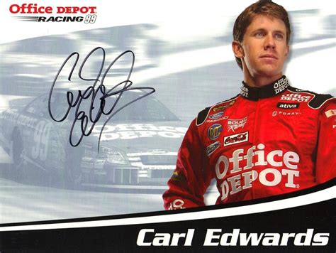 racing autograph card template carl edwards autographed office depot racing nascar photo