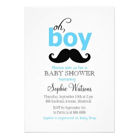 Oh Boy Mustache Baby Shower by Blue It S A Boy Mustache Baby Shower Invitations 5 Quot X 7