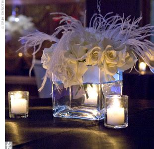 White Feather Weddings Centerpieces With Feathers And Flowers
