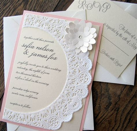 vintage shabby chic lace doily wedding invitation 7 00