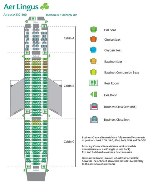 aer lingus seats aer lingus seating chart seat map airbus a330 300 aer