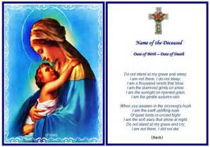 example of christian memorial card virgin mary