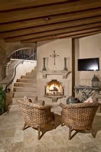 Kiva Style Fireplace - spanish hacienda mediterranean patio phoenix by candelaria design associates