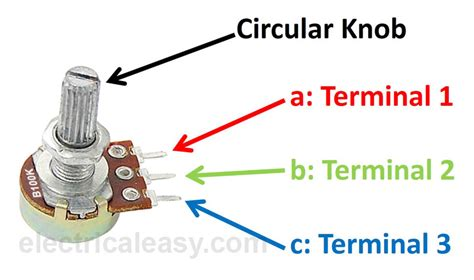 variable resistor terminals difference between potentiometer and rheostat electricaleasy