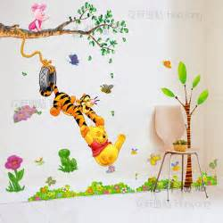 wall stickers kids room pooh swing childrens themed decor sets bedroom art decal