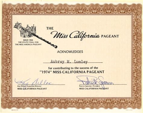 Pageant Certificate Template miss california pageant california 1974