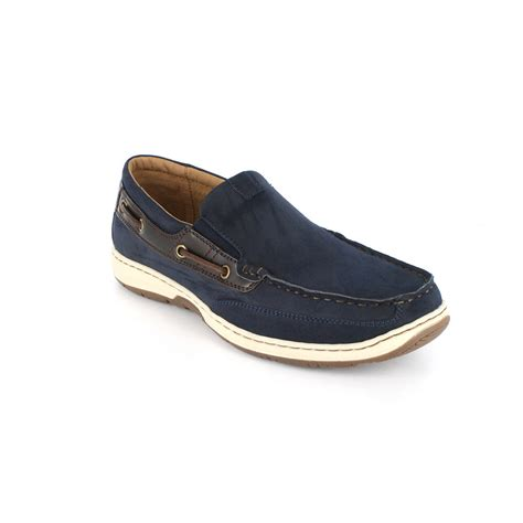 boat shoes wide width nunn bush men s outboard navy brown slip on boat shoe