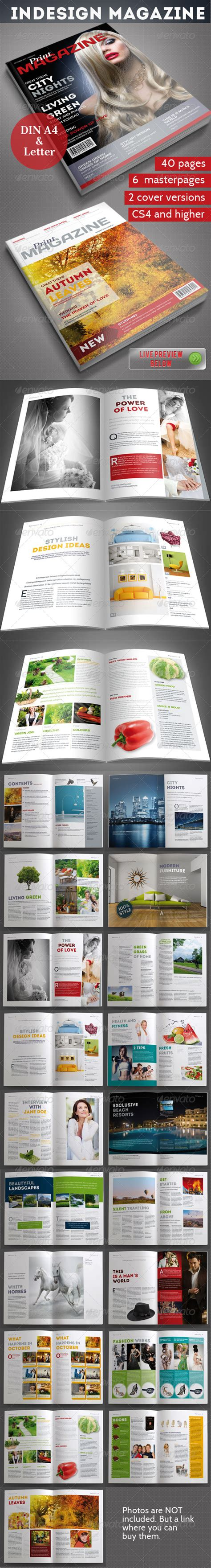 indesign magazine template 40 pages print ad templates
