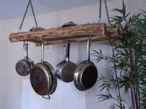 magnificent rustic hanging pot and pan rack made by