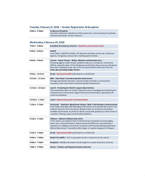 professional agenda template   word  documents