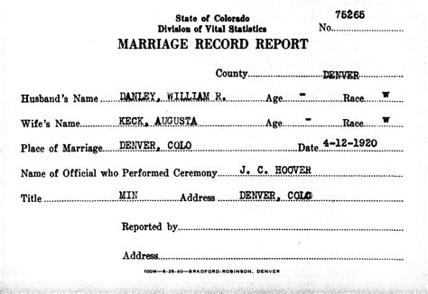 Arapahoe County Marriage Records Walter Francis