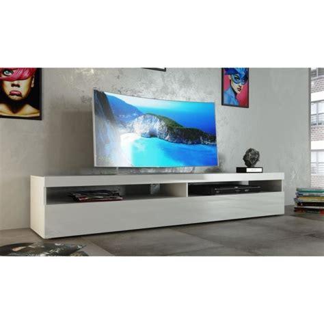 Meuble Tv 200 Cm burrata meuble tv 200cm laqu 233 blanc achat vente meuble