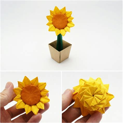 3d Origami Sunflower - origami likable origami sunflower origami sunflower