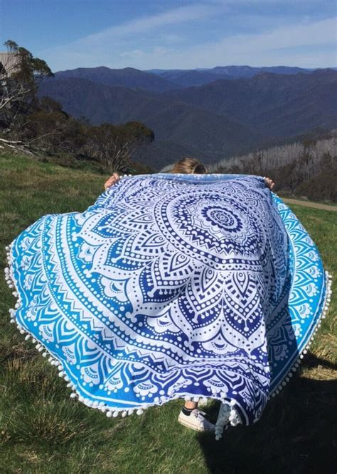 mandala pattern tassel  beach blanket fairyseason