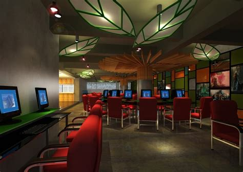 cyber cafe interior design pictures cyber cafe with decor interior 3d model max cgtrader com