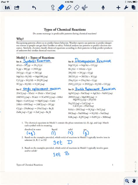 Types Of Chemical Reactions Worksheet Answer Key by Summit Chemistry Rox January 2014