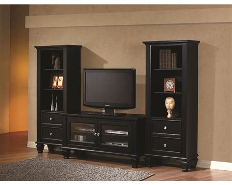 entertainment shelving units coaster black entertainment wall unit co 702250 1set