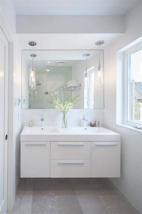 double sinks for small bathrooms http wwwapartmenttherapycom before after a modern bathroom