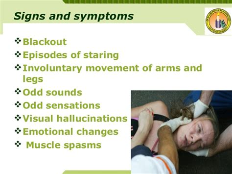 signs of a seizure in a epilepsy its management