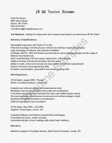 Qa Tester Entry Level by Resume Sles Jr Qa Tester Resume Sle