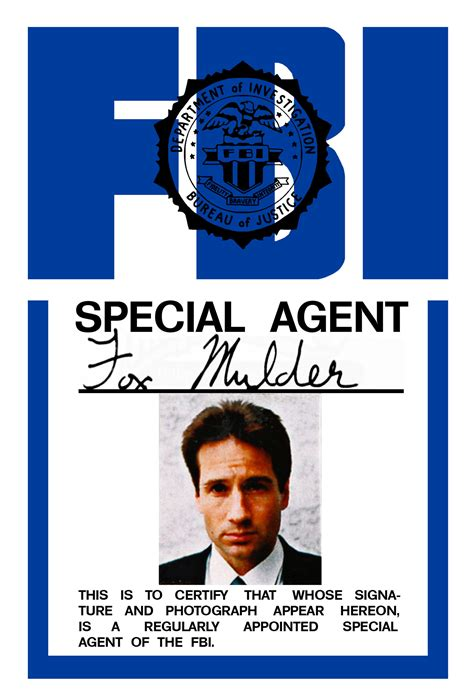 the x files fox mulder fbi badge replica by morsoth on