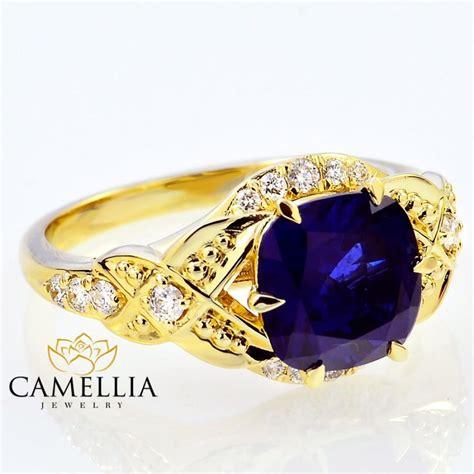 cushion cut yellow sapphire ring cushion cut sapphire engagement ring 14k yellow gold