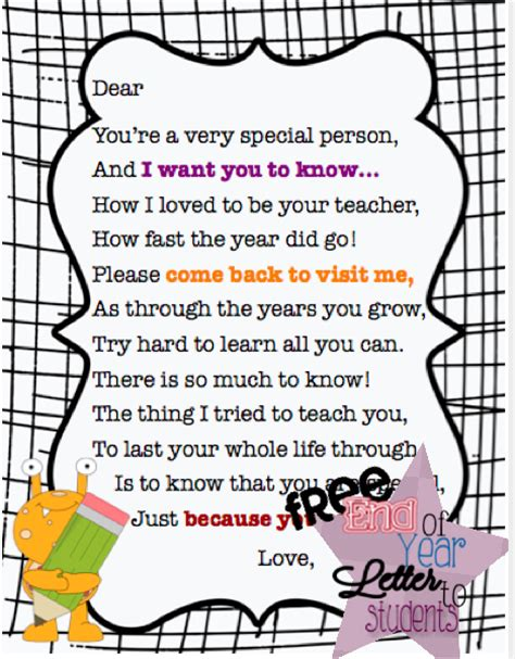 Thank You Note To Preschool End Of Year End Of Year Letter To Students 180 Days Later Students School And Teaching Ideas