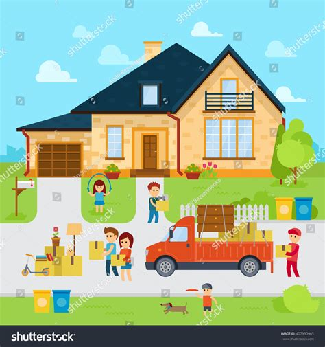 people who buy houses people moving new home flat designmoved stock vector