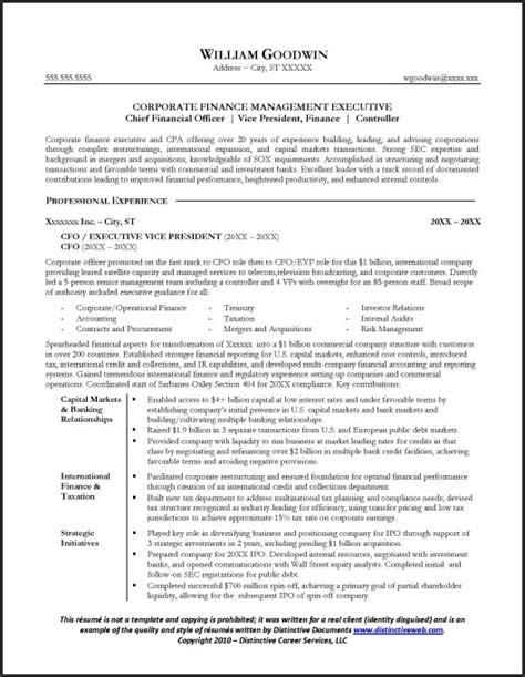 sle cfo resume page 1 resume exles