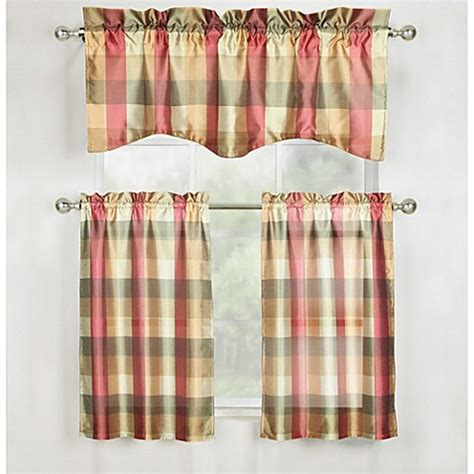 Plaid Curtains For Kitchen Mystic Plaid Window Curtain Kitchen Tier Pair And Valance In Bed Bath Beyond
