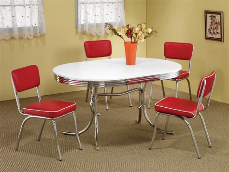 Retro Dining Room Sets | retro 1950s style 5pc vintage look dining set red and