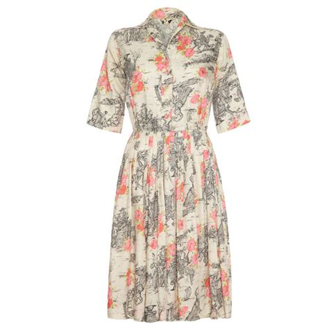 Dress Of The Day Som Silk Dress 2 by 1950 S Silk Day Dress With Floral And Country Print