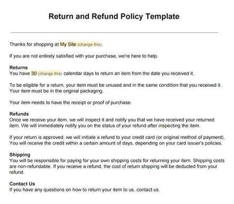 Credit Card Return Letter Sle Return Policy For Ecommerce Stores Termsfeed