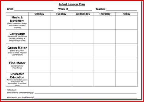 lesson plan for preschool template sle lesson plan template for preschool