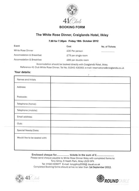 white rose dinner booking form scarborough  club