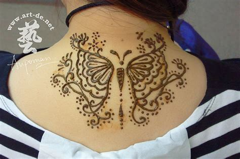 henna tattoo with butterfly 51 adorable neck henna tattoos