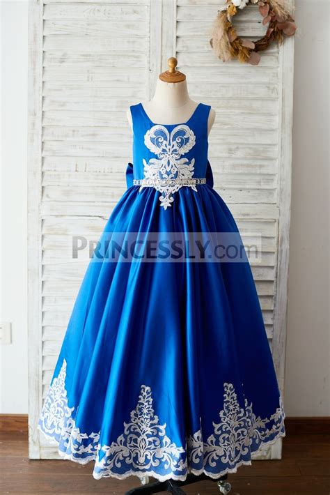 Square Neck Lace Trim Dress royal blue satin square neck wedding flower