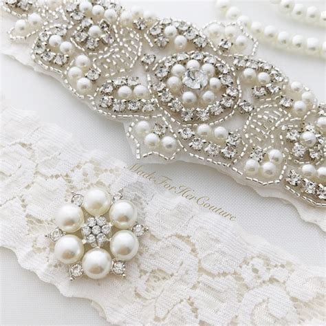 Wedding Garter Sets by Ivory Wedding Garter Set Ivory Lace Bridal Garter Set