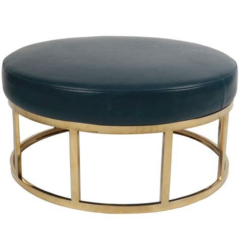 gold leather ottoman maxwell vintage bonded leather round ottoman gold frame in