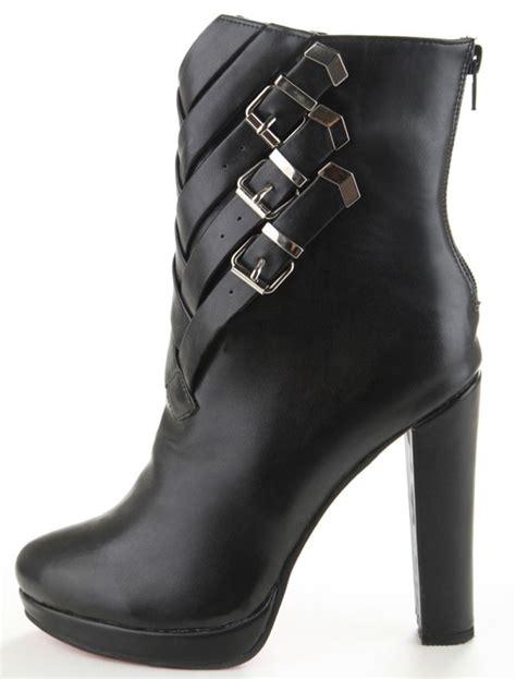 booties high heels black buckles chunky heel sheepskin s high heel