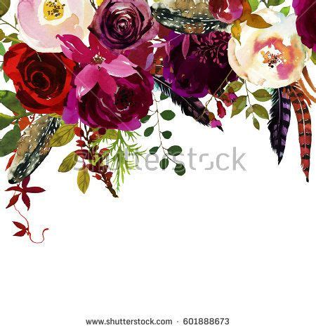 watercolor boho burgundy white floral drop flowers and feathers isolated wedding